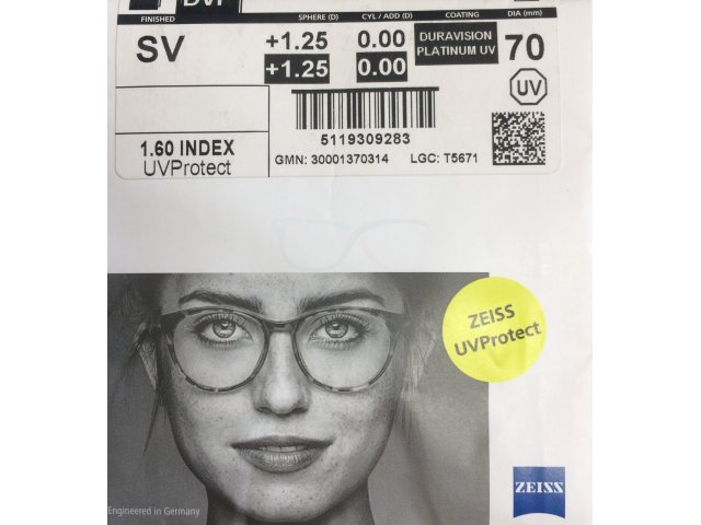 Zeiss Single Vision 1.6 DVP UV (Dura Vision Platinum UV)