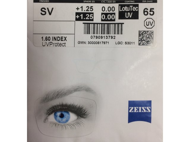 Zeiss Single Vision 1.6 LotuTec - LT UV