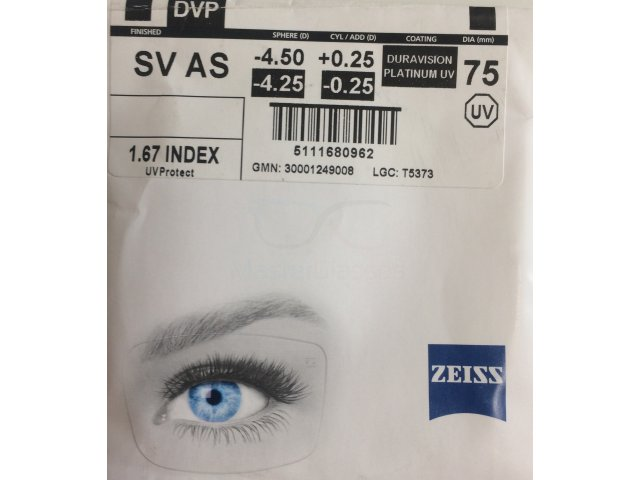 Zeiss Single Vision AS 1.67 DVP UV - Dura Vision Platinum UV