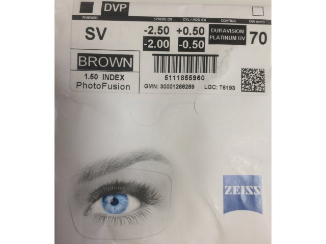 Zeiss Single Vision 1.5 PhotoFusion DVP UV (Dura Vision Platinum UV) (Brown/Grey)
