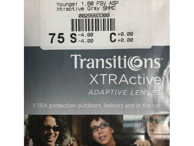 Cryol Younger Optics 1.6 FSV AS Transitions XTRActive SHMC Grey